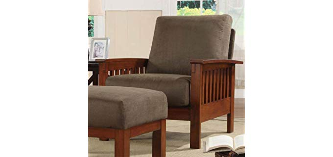 HomeHills Mission Recliner & Ottoman - Microfiber Cover Mission Styled Chair