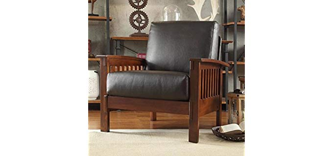 HomeCreek Solid Oak - Comfortable Recline Chair in Mission Style