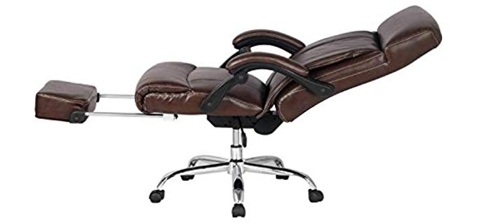 Viva Office Adjustable Swivel Recliner - High Back Bonded Leather Office Recliner Chair