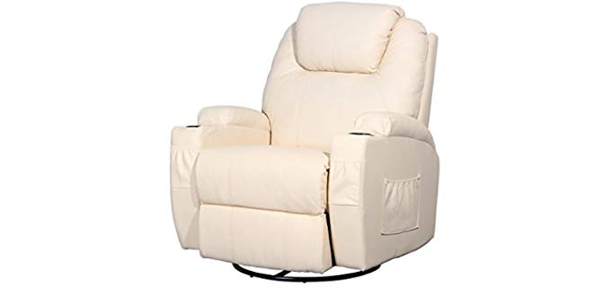 Esright Heated Massage Swivel Recliner - Heated Swivel Reclining Armchair with Massage