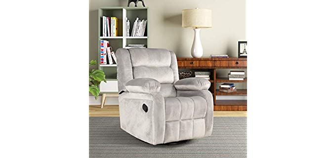 FLIEKS Velvet - Swivel Rocker Recliner