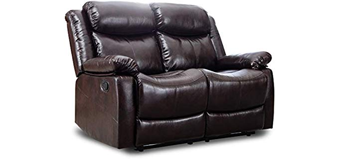 Harper and Bright Designs Loveseat - Two Seater Leather Recliner