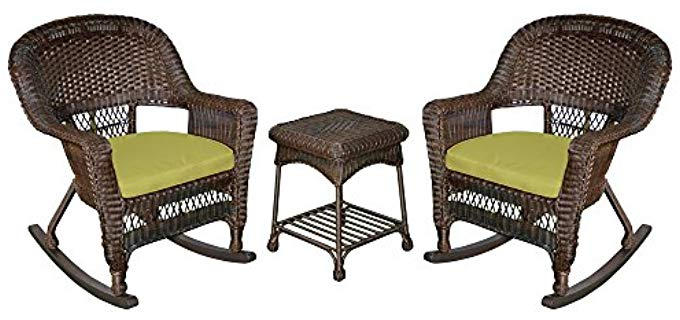 Jeco Wicker Rocker Chair - Resin Wicker Hardwood Outdoor Rocking Chair