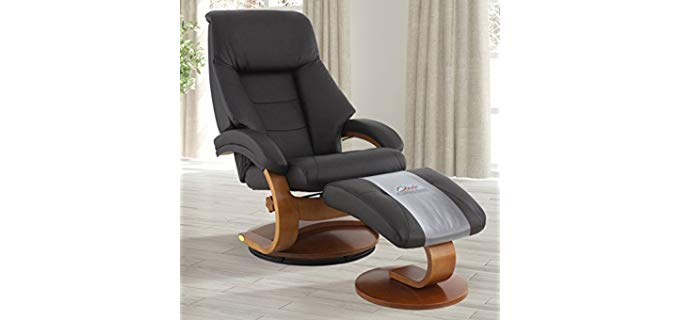 Oslo Collection Premium Leather Recliner Chair - Top Grain Leather Recliner With Ottoman