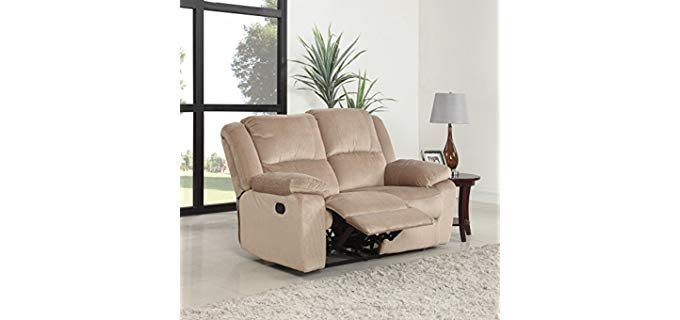 Divano Roma Double Wide Recliner Loveseat - Double Wide 2 Person Reclining Sofa