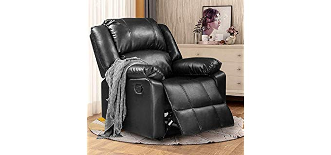Rhomtree PU Leather - Thick Padded Leather Recliner