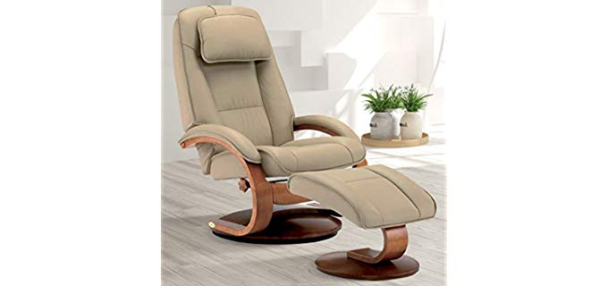 Oslo Collection Ergonomic Recliner Chair - Premium Swivel Recliner With Ottoman