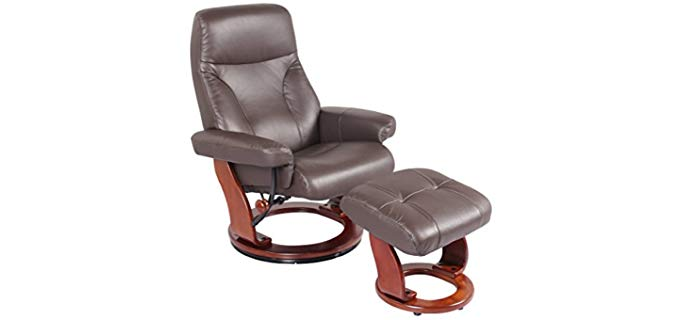 Super Nova Kona Brown - Leather Swivel Chair and Ottoman