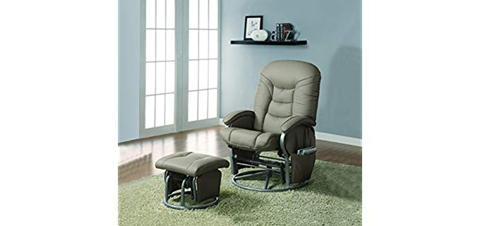 Coaster Home Furnishings Leatherette - Gliding Recliner and Ottoman